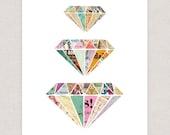 Colorful Diamonds Art Print - Collage Art Print Illustration - Framable Print Wall Art