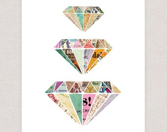 Colorful Diamonds Art Print - Collage Art Print Illustration - Framable Print Wall Art