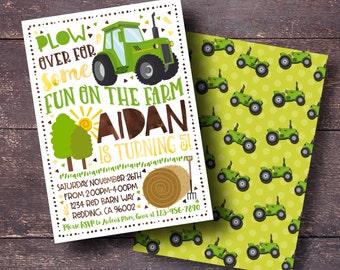 Tractor Invitation, Farm Invitation, Green Tractor Invitation, Boys Farm Invitation, Harvest Invitation, Tractor Party Invitation, Tractor