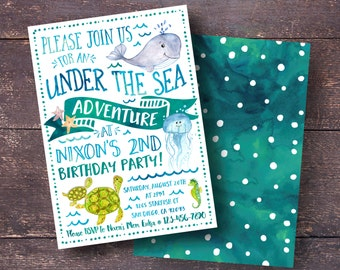 Under the Sea Invitation, Under the Sea Birthday, Boys Under the Sea Invitation, Watercolor Under the Sea Invitation, Ocean Party Invitation