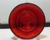 """Vintage Cristal d'Arques Durand Luminarc Luncheon Plates in the """"Antique"""" Pattern - Ruby Red Pressed Glass"""