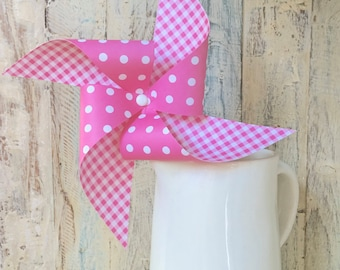 Pinwheels - Pink Gingham Collection - More colors Available - Set of 4