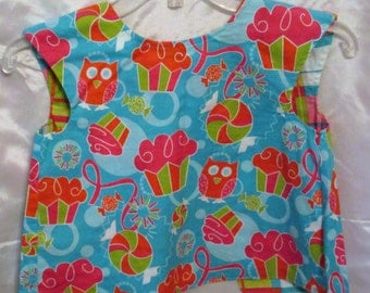 Cup Cake and Owl toddler smock, bib or apron blue lined big button  adjustable for 2-5 years
