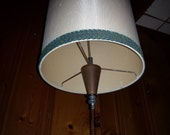 1960s SWAG LAMP with barrell SHADE turquoise fabric trim decorative brass chain