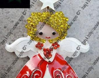 Christmas Victorian Angel Rhinestone and Enamel Pendant -  55mm x 42mm - Christmas, Red, Blonde