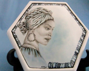Handpainted porcelain box with exotic woman surrounded with Kaleidart beads