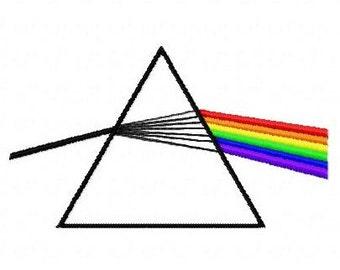 Pink Floyd rainbow prism machine embroidery design 4 inch instant download