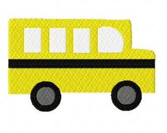 Back to school bus schoolbus machine embroidery design 4 inch instant download
