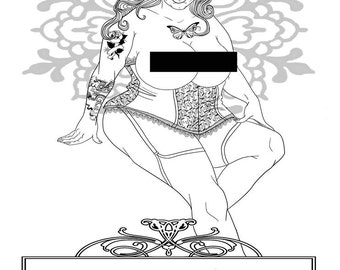Beauty has No Size, DIY Print at home Digital Download Colouring Page, Adult Coloring, BBW, Empowerment, Burlesque, Adult Activity Sheet