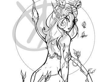 Forest Femme Fatale DIY Print at home Coloring Page Fantasy Faerie Pagan Fairy Fey Faun Samhain