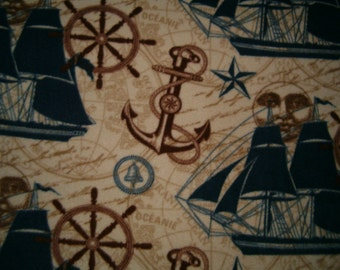 Nautical - Fleece Blanket (Large) - Ready to Ship - Ships - Anchors - Compass - Ships Wheel