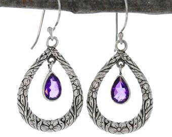 Pear Shape Sterling Silver  Filigree Accent Amethyst Drop Earrings. Silver Bali Earrings, Amethyst Earrings
