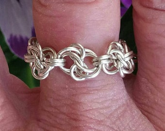 Argentium Sterling Silver Chainmaille Ring