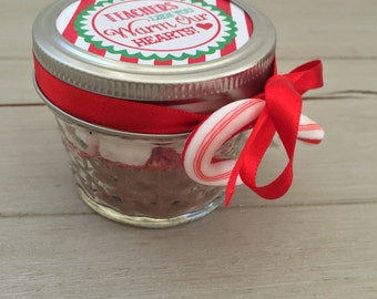 Teacher Christmas Corporate Gifts- Hot Chocolate Jars, Teachers Warm our Hearts Party Favors, Mason Jar Christmas Gifts