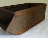 F15 Vintage Industrial Steel Bin Metal Parts Container Military Stackable #3