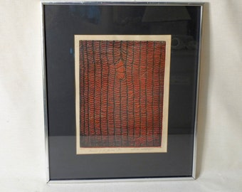 Signed Abstract Print by Esther G Shapiro Image of de Gaulle 7/50 Original Modern Art Framed Print Black Red Linear Expressionism