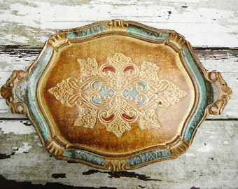 Chic Bohemian Wood Tray. In Red, Wood and Turquoise