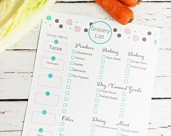 Grocery List,  Meal Planner Printable, Printable Shopping List, Organized Grocery List with Meal Planning