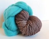 Thrummed MITTEN Kit - Brown/Turquoise- Hand dyed Merino yarn, roving and pattern