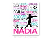 Girl's Soccer Typography Art Canvas or Print, Girl's Room Art, Choose the Colors, Personalized Gift for Soccer Lover Soccer Team or