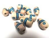Vintage Japanese Wood Beads (12) Handpainted Unique Design Wooden Blue Teardrop Wholesale Large Hole Beads Jewelry Supplies CrazyCoolStuff