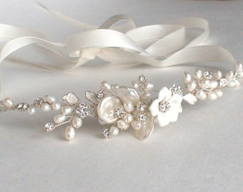 Pearl headband. Bridal head piece. Wedding headband. Pearl headband. Ribbon headband. Bridal headpiece.  Headband. Hair accessories.
