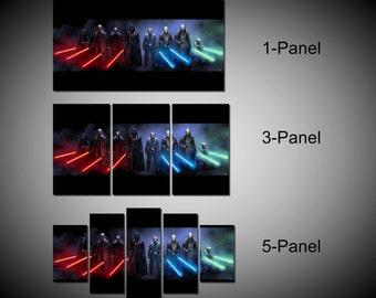 Framed Star Wars Darth Vader Luke Skywalker Yoda Darth Maul Lightsaber Wall Canvas Art - Ready to Hang