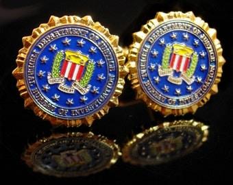 Vintage FBI Cufflinks Federal Bureau of Investigation Cufflinks enamel Eagle Shield Law Enforcement graduation gift