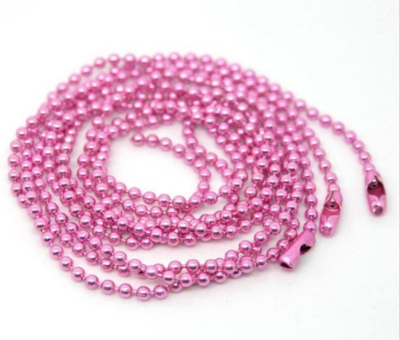 4 Pieces. Pink Ball Chain Necklace. 2mm Bead Connector. 70cm. DIY Ball Necklace.