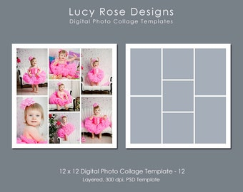 12 x 12 Photo Collage Template - 12