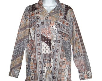 Vintage 70s Lady Queen earth toned patchwork patterned longs sleeved hippy hippie blouse