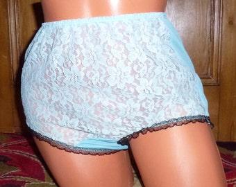 Sheer aqua blue lace panties mod 60's
