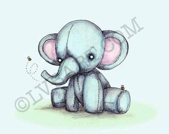 Elephant Bees Fine Art Print