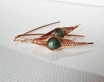 ON SALE Wire Wrapped Earrings, Green Jade stone in Copper, Handmade jewelry, Copper jewelry