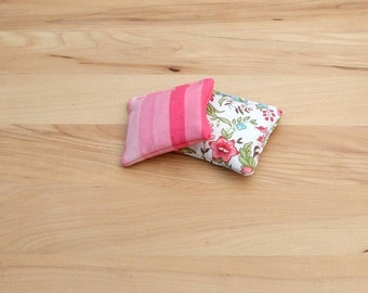Hot or Cold pack set of 2 - handwarmer - reusable microwavable rice bag - pocket warmer - fun boo boo bag - rice pack - pink flower stripe