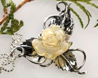 Sterling Silver Pendant  Ivory Rose, lampwork, sterling silver 925 sra