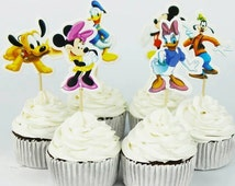 72pcs Event Party Supplie Cartoon Mickey Minnie mouse Cupcake Topper Pick Wedding Decoration Girl Kids Birthday Party Decoration