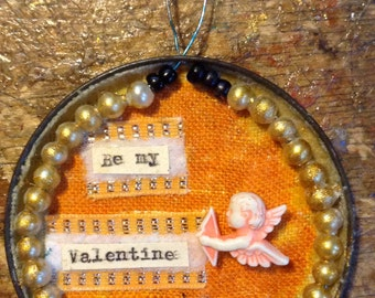 REDUCED*****Little valentine mixed media decoration.  made using vintage materials.