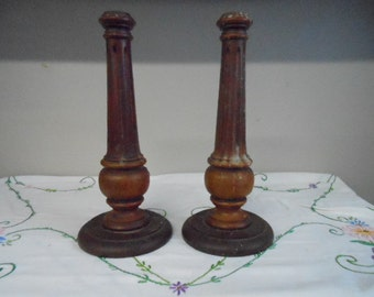 """Pair of Primitive Colonial Turned Oak Candleholders Nice Patina Drip Candle Wax 11 3/4"""" Tall Early American Haunted House Escape Room Game"""
