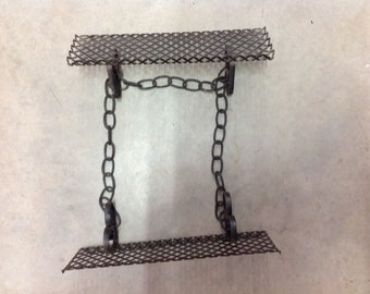 Vintage Mid Century Modern Wire Mesh Wall Shelf Black With Chain shelves modern