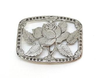 Vintage Large Silver Rose Pin Brooch Flowers Art Nouveau Deco Cut Out White Pot Metal Bis Size Scarf Clip Accessory