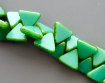 12mm Milky Green Picasso Czech Glass Polished Triangle Bead - 12 beads - 1740 - Milky Green Picasso Triangle Bead