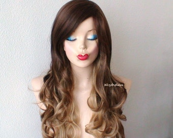 Ombre wig. Brown /Toffee /Dirty blonde ombre wig. Long curly hair long side bangs wig.