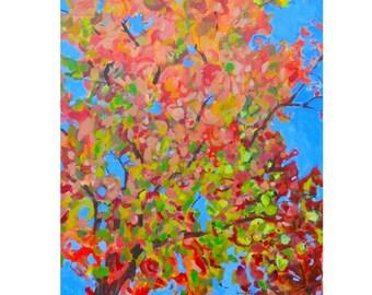 Fall painting | Maple tree painting | Large Original acrylic painting on canvas| Tree painting| autumn decor,  24 X 20 orange