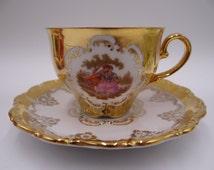 Vintage STW Bavaria Gold Fragonard Courting Couple Teacup and Saucer Set - Stunning
