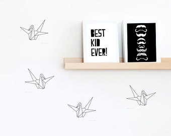 Paper Crane wall decals, Paper Crane decal, bird wall sticker, crane wall decals, wall stickers, vinyl wall decal stickers x 40