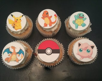 Pokemon Inspired Fondant Cupcake Toppers -12