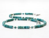 Genuine Turquoise and Sterling Silver Necklace   - 18 Inch Turquoise Necklace - Handmade Turquoise Jewelry