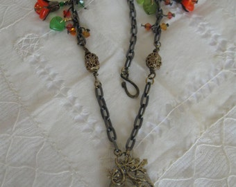 Flower and Leaves Steampunk Necklace