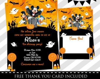 Mickey Mouse Halloween Invitation - FREE Thank you card